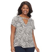 Plus Size Rock & Republic® Printed Cut-Out Tee