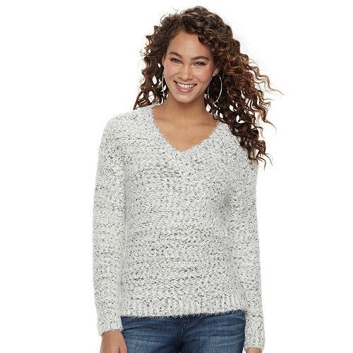 a9e385cfb1bb1 Women's Jennifer Lopez Marled Boucle V-Neck Sweater