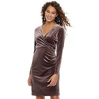 Women's Jennifer Lopez Velvet Faux-Wrap Dress