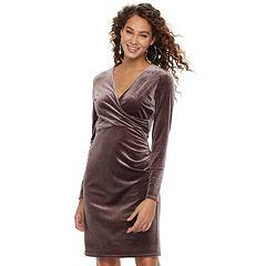 Women's Jennifer Lopez Velvet Faux-Wrap Dress