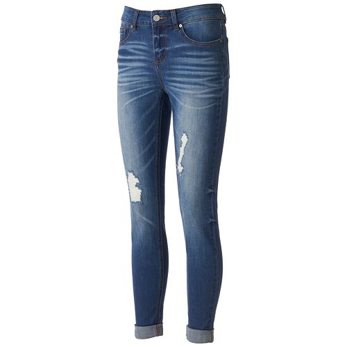 5d6036c511b8d Juniors  Indigo Rein Faded Ripped Ankle Skinny Jeans