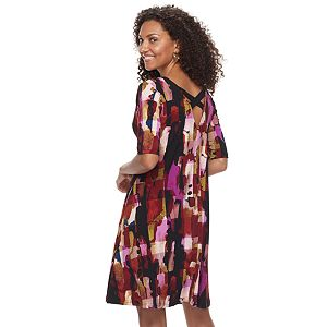 Women's Nina Leonard Printed Trapeze Dress
