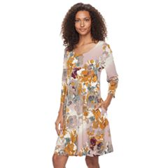 Women's Nina Leonard Floral Trapeze Dress
