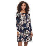 Women's Nina Leonard Floral Criss-Cross Keyhole Dress