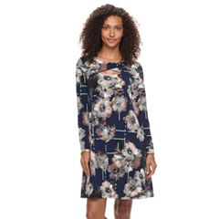Women's Nina Leonard Floral Criss-Cross Keyhole Dress