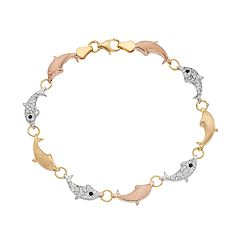 Tri Tone Sterling Silver Crystal Dolphin Bracelet