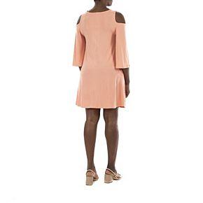 Women's Nina Leonard Draped Sleeve Cold-Shoulder Dress