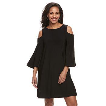 Womens Nina Leonard Oversized Sleeve Cold Shoulder Dress