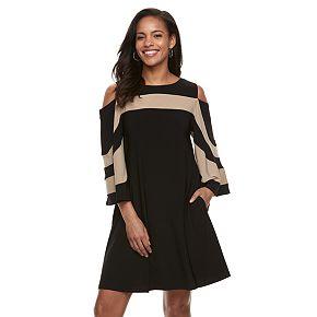 Women's Nina Leonard Oversized Sleeve Cold-Shoulder Dress