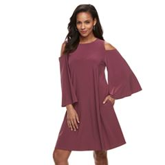 Women's Nina Leonard Oversized Sleeve Cold-Shoulder Dress