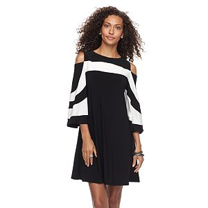 Women's Nina Leonard Draped Sleeve Cold-Shoulder Dress