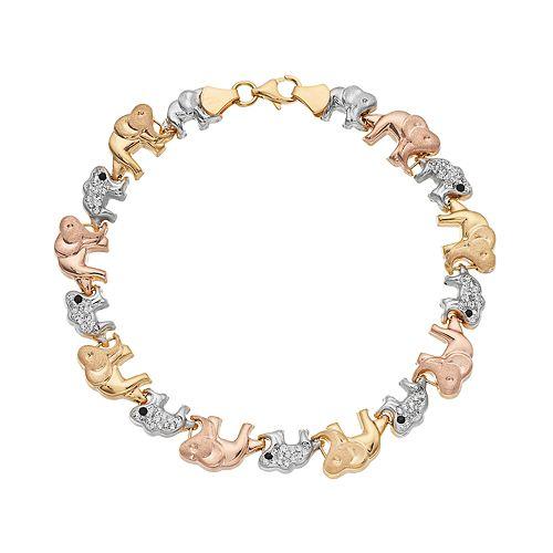 Tri Tone Sterling Silver Crystal Elephant Bracelet