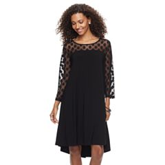 Women's Nina Leonard Sheer Polka-Dot High-Low Dress