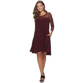 Women's Nina Leonard Sheer Polka-Dot High-Low Dress