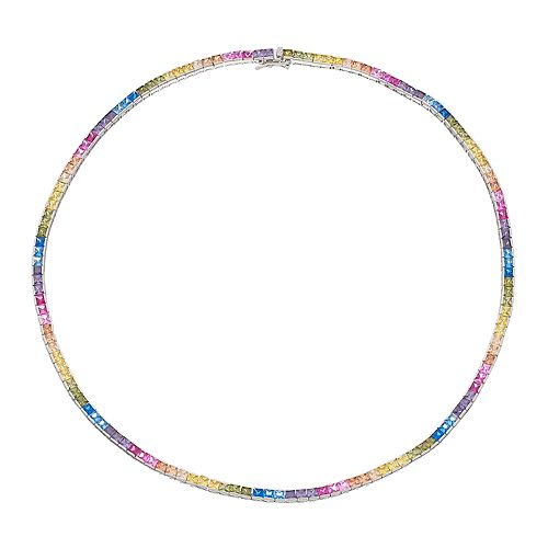 Sterling Silver Multicolored Cubic Zirconia Necklace