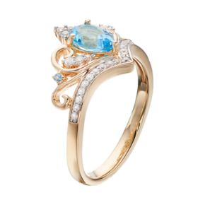 Gold Tone Sterling Silver Swiss Blue Topaz & Lab-Created White Sapphire Crown Ring
