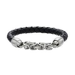 Men's Stainless Steel & Braided Black Leather Cord Bracelet