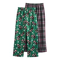 Boys 4-16 Up-Late Flannel Candy Cane Ninja 2-Pack Lounge Pants