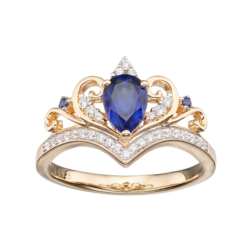 Gold Tone Sterling Silver Lab-Created Blue & White Sapphire Crown Ring