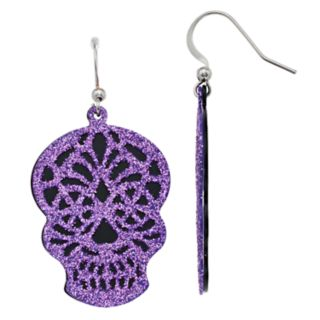 Purple Nickel Free Glittery Skull Drop Earrings