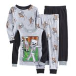 Boys 6-12 Minecraft Skeleton 4-Piece Pajama Set