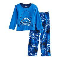 Boys 4-10 Up-Late Shark Fleece 2 pc Pajama Set