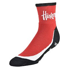 Men's Nebraska Cornhuskers Grip the Turf Quarter-Crew Socks