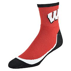 Men's Wisconsin Badgers Grip the Turf Quarter-Crew Socks