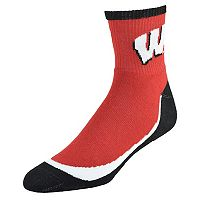 Youth Wisconsin Badgers Grip the Turf Quarter-Crew Socks