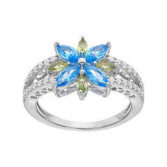 Sterling Silver Simulated Blue Topaz & Simulated Peridot Flower Ring
