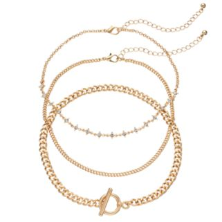 Mudd® Chain, Simlated Crystal Station & Toggle Choker Necklace Set