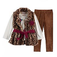 Baby Girl Little Lass Faux Fur Vest, Heart Tee & Glitter Leggings Set
