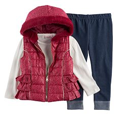 Baby Girl Little Lass Foil Faux Fur Vest, Ribbed Tee & Jeggings Set