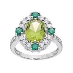 Sterling Silver Simulated Peridot & Cubic Zirconia Ring
