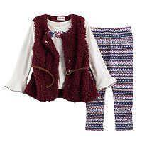 Baby Girl Little Lass Sweater Vest, Floral Tee & Leggings Set