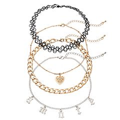 Mudd® 'Amore,' Heart & Tattoo Choker Necklace Set