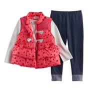 Baby Girl Little Lass Puffy Vest, Tee & Leggings Set