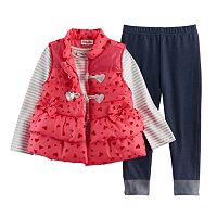 Baby Girl Little Lass Puffy Vest, Tee & Leggings Set