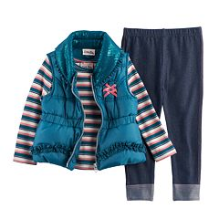 Baby Girl Little Lass Puffy Vest, Striped Tee & Leggings Set
