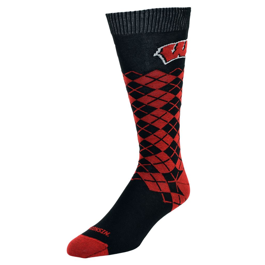 Men's Mojo Wisconsin Badgers Argyle Socks