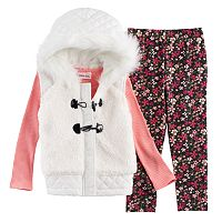 Baby Girl Little Lass Faux Fur Hooded Vest, Ribbed Tee & Floral Leggings Set