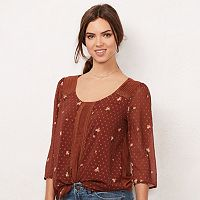 Women's LC Lauren Conrad Swiss Dot Pintuck Top