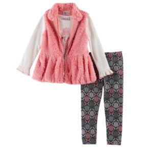 "Baby Girl Little Lass Faux Fur Vest, ""Dream"" Tee & Leggings Set"