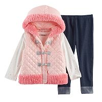 Baby Girl Little Lass Faux Fur Vest, Foil Tee & Jeggings Set