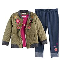 Baby Girl Little Lass Bomber Jacket, Tee & Jeggings Set