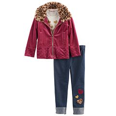 Baby Girl Little Lass Velvet Jacket, 'Heart of Gold' Tee & Jeggings Set