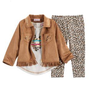 Baby Girl Little Lass Faux Suede Jacket, Tee & Leggings Set