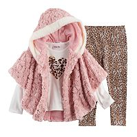 Baby Girl Little Lass Faux Fur Poncho, Heart Tee & Cheetah Leggings Set