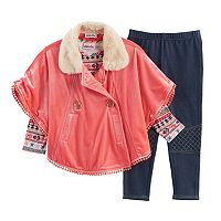 Baby Girl Little Lass Jacket Poncho, Tee & Jeggings Set