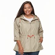 Plus Size d.e.t.a.i.l.s Hooded Roll-Tab Packable Anorak Jacket
